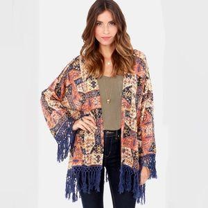 RVCA Lycia Blue Print Kimono Fringe Top